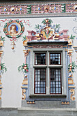 'A Colorful Painted Wall Framing A Window; Lindau, Germany'
