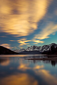 'The Upper Lake At Sunset; Kananaskis, Alberta, Canada'