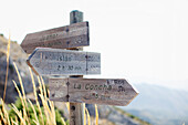 'Wooden Destination And Distance Signs; Marbella, Malaga, Andalusia, Spain'