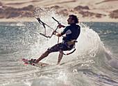 'A Man Kitesurfing; Tarifa, Cadiz, Andalusia, Spain'