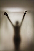 Silhouette Of A Nude Woman Behind The Glass Door Of A Shower Stall