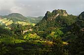 'Lush Mountainous Landscape Under A Cloudy Sky; Mae Hia, Chiang Mai Province, Thailand'