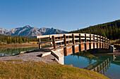 'Footbridge At Cascade Ponds In Banff National Park; Banff, Alberta, Canada'