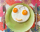 Two Eggs Making A Happy Face On A Plate