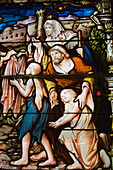 'Stained Glass Window Depicting A Religious Scene In Cathedral Of The Holy Trinity; Quebec City, Quebec, Canada'