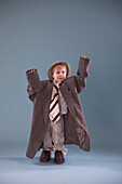 'Toddler With Oversized Clothing; Jordan, Ontario, Canada'