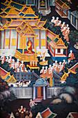 'Detail Of Wat Pho Painting; Bangkok, Thailand'