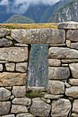 'View Through A Window In The Historic Inca Site Machu Picchu; Peru'