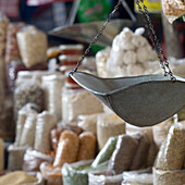 'Basket Of A Weigh Scale Hanging In The Market; Cusco Peru'