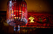 'Ancient And Traditional Red Chinese Lantern Hangs In The Temple; Penang Malaysia'