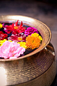 'Flowers Floating In A Bowl Filled With Water; Bhaktapur, Nepal'