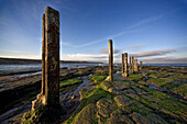 Stone Pillars In Shallow Water, Whitley Bay, North Tyneside, Tyne And Wear, England