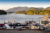 View Of A Marina And Mountains, Tofino, Vancouver Island, British Columbia, Canada