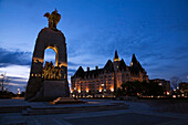 National War Memorial Monument And Château Laurier, Ottawa, Ontario, Canada