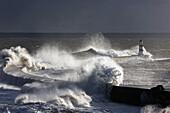 Waves Crashing On Lighthouse, Seaham, Teesside, England