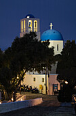 Blue Domed Chapel With Bell Tower At Dusk, Firostefani Village, Santorini, Greece