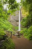 Water Fall And Footbridge
