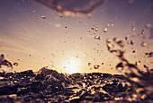 'Splashing Water At Sunset; Tarifa, Cadiz, Andalusia, Spain'