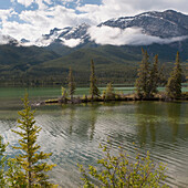 'A Lake And The Rocky Mountains; Jasper, Alberta, Canada'