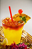 A Mai Tai Garnished With Pinapple And A Cherry.