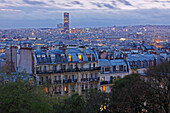 'Skyline Of Paris At Dusk Seen From Montmartre In France; Paris, France'