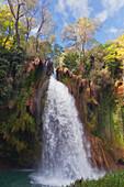 'The La Caprichosa Waterfall In Natural Park Monasterio De Piedra; Zaragoza Province, Aragon, Spain'