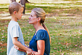 'Mother And Son Spending Quality Time Together In A Park In Autumn; Edmonton, Alberta, Canada'