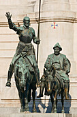'Monuments To Cervantes In Plaza De Espana (Don Quijote Riding His Horse Rocinante And Sancho Panza Riding His Donkey); Madrid, Spain'