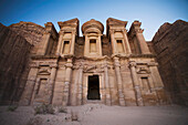 'The Nabatean Architecture Of The Monastery At Dusk; Petra, Jordan'