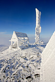 View Of Snow-Covered Shelter At Top Of Mont Logan At Sunrise, Quebec, Canada