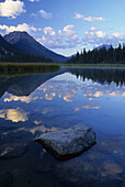 Reflection Of A Mountain In A Lake Enroute To The Historic Athabasca Pass In Jasper National Park