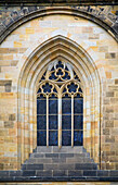 'Window Detail On The 14Th Century Gothic Style Saint Vitus Cathedral Located In The Prague Castle District; Prague, Czech Republic'