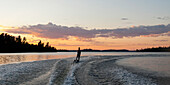'Waterskier On The Lake At Sunset; Lake Of The Woods, Ontario, Canada'