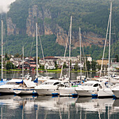 'Sailboats In The Harbour Of Hardangerfjord; Hardangervidda, Norway'