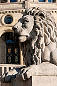 'Sculpture Of A Lion At The Norwegian Parliament Building; Oslo, Norway'