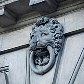 'Door Knocker In The Image Of A Lion At Stockholm Palace; Stockholm, Sweden'
