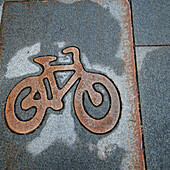 'Image Of A Bicycle On A Sidewalk; Stockholm, Sweden'