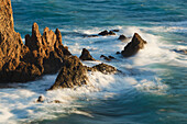 'Waves Breaking On The Arrecife De Las Sirenas Or Mermaid's Reef In Cabo De Gata-Nijar Natural Park; Almeria Province, Spain'