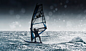 'Windsurfing With Water Drops On Camera Lens; Tarifa, Cadiz, Andalusia, Spain'