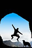 'Participant's Silhouette At A Cave Rescue; Blairmore, Alberta, Canada'