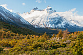 'Los cuernos (the horns) a mountain on the trek called the 'w' in torres del paine national park;Patagonia chile'