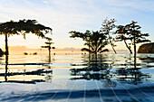 'Sunset at the radisson tahiti resort arue near papeete;Tahiti nui french polynesia south pacific'