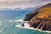 'View along the coast to blasket islands on the horizon near slea head;Dingle peninsula county kerry ireland'
