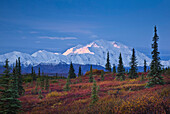 Scenic View Of Mt. Mckinley And The Alaska Range Taken From The Wonder Lake Campground In Denali National Park & Preserve, Interior Alaska, Autumn