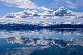 Scenic View Of The Chilkat Mountains Reflecting In Lynn Canal, Inside Passage, Juneau, Southeast Alaska, Spring