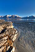 Scenic View At Low Tide Of Mud Flats At Turnagain Arm Near Hope, Kenai Peninsula, Southcentral, Alaska, Spring, Hdr