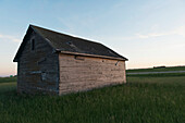 A wooden shed in the middle of a grass field
