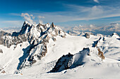 'Rugged mountain range of the french alps covered in snow;Chamonix-mont-blanc rhone-alpes france'
