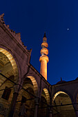 'Low angle view of the mosque of the valide sultan at night;Istanbul turkey'
