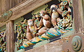 'A carving in nikko that made famous the saying 'see no evil speak no evil hear no evil';Nikko tochigi-ken japan'